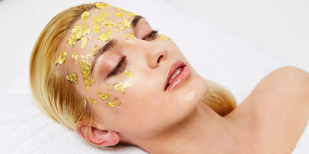 Gold facial mask treatment